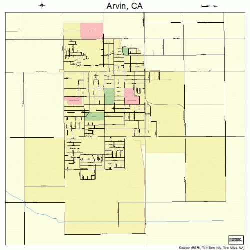 Large Street & Road Map of Arvin, California CA - Printed poster size wall atlas of your home - Arvin Map