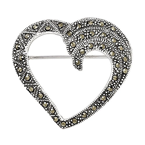 Sterling Silver Antiqued Marcasite Heart Pin Brooch 32mm x (Sterling Silver Marcasite Pin Brooch)