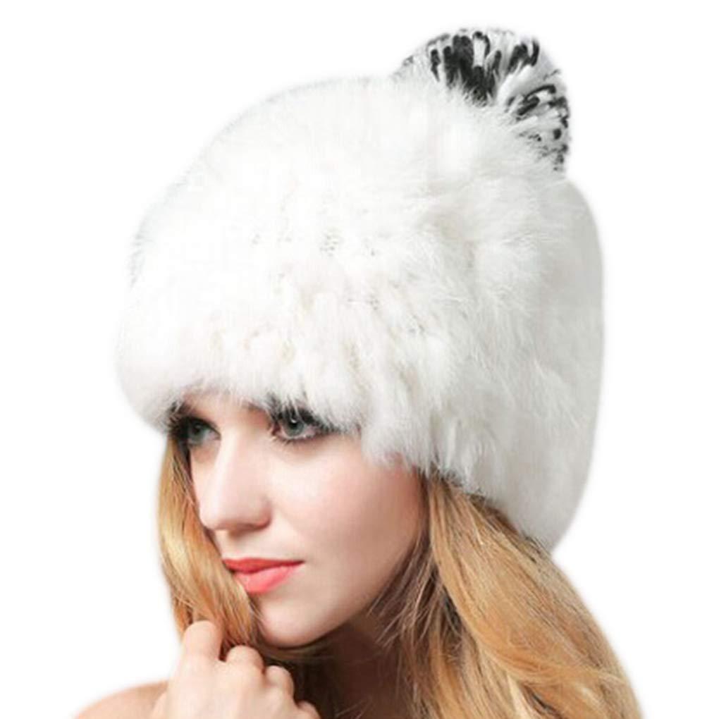 Warm Fleece Winter Caps Faux Rabbit Fur Pompom Hats Women Wool Knitted Ladies Skullies Beanies Pom Pom Bonnet Femme