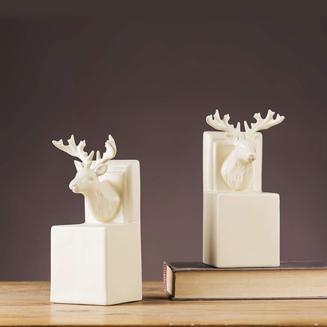 OWNFSKNL 北欧スタイルの鹿のヘッドブックブロックのセラミック工芸品の装飾品簡単な書棚 (Style : B) B  B07QKMWX2Y