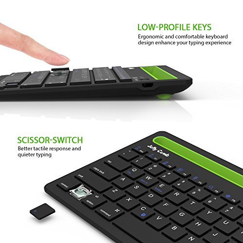 Bluetooth keyboard, Jelly Comb BK230 Dual Channel Multi-device Universal Wireless Bluetooth Keyboard Rechargeable with Sturdy Stand for Tablet Smartphone PC Windows Android iOS Mac (Black and Green) by Jelly Comb (Image #4)