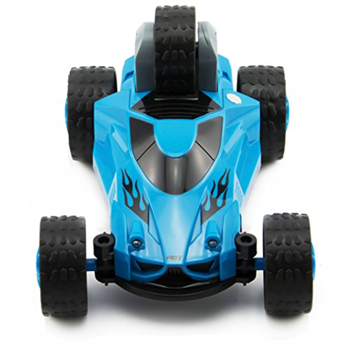 Zhencheng Five Wheels Race Stunt Car 2WD Remote Control RC Vehicle with LED Headlights Extreme High Speed 360 Degree Rolling Rotating Rotation,Blue (Rc Trucks Waterproof Cheap)