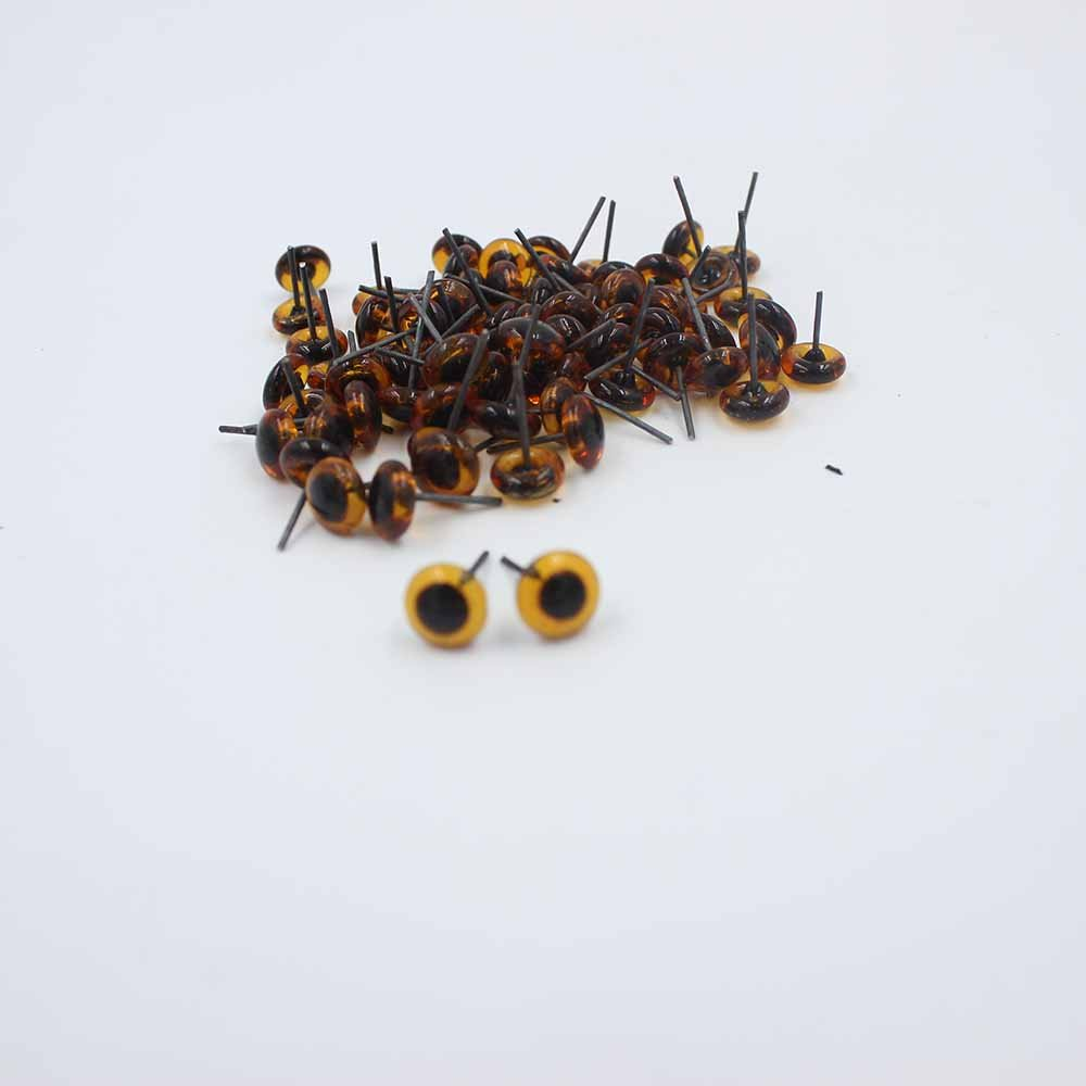 4mm, Clear 100pcs 3//4//5//6//7//8//9//10//12//14mm Glass Eyes on Wire Amber Toy Teddy Eyes Puppets Dolls Crafts