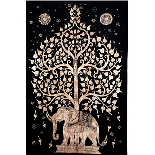 Your Spirit Space (TM) Black/Brown/Gold Good Luck Elephant Tapestry-Tree of Life. Quality Home or Dorm Hippie Wall Hanging. The Ultimate Bohemian Tapestry -
