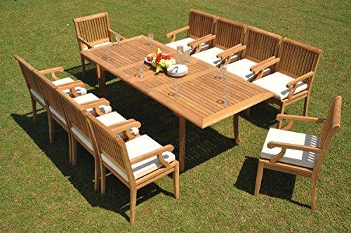 "10 Seat 11 Piece Grade-A Teak Wood Dining Set: 94"" Double"