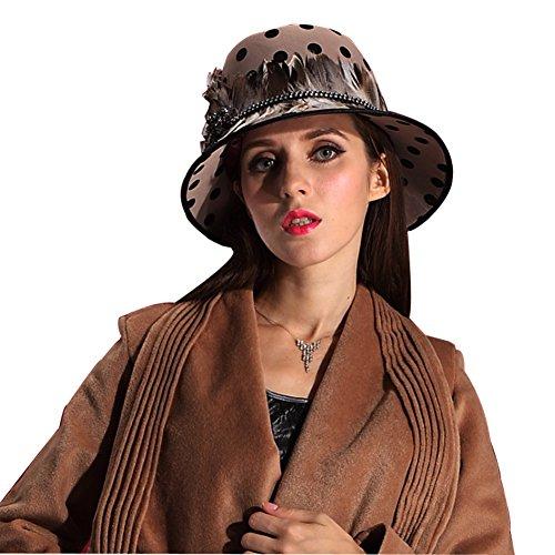 June's Young Damen-Hüte Samthut Winter Herbst Cape Kopfschmuck Top hat Polka Dot Cooler Hut