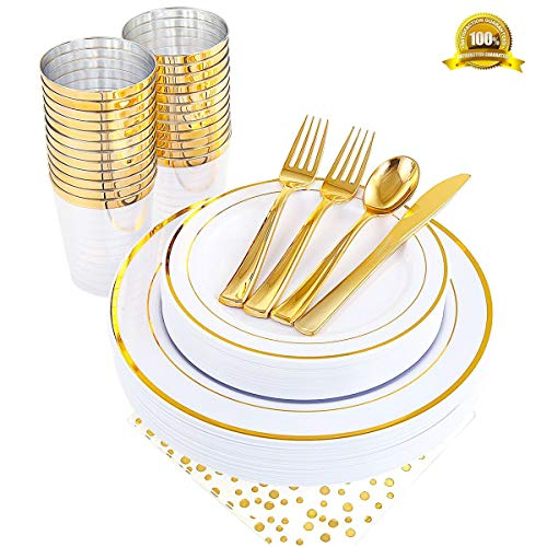ENUOSUMA 150 Piece Plastic Plates, Dinnerware & Cups Set - Gold Plates with Lace Design -Disposable Tableware include Dinner Plates Salad Plates, Cups, Spoons, Forks & Knives (Gold-2)