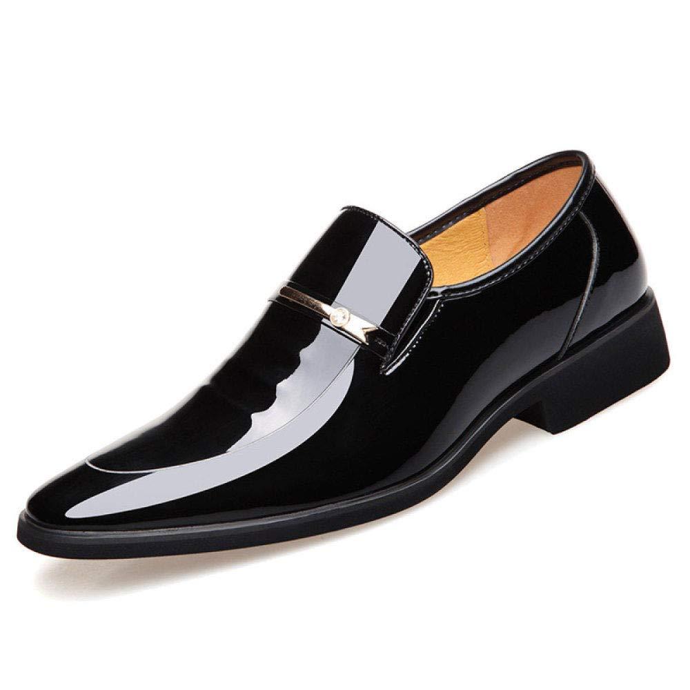Zapatos de los Hombres nuevos Zapatos de Vestir de Cuero Brillante Puntiagudo Zapatos Casuales Zapatos de Boda Transpirable Resistente al Desgaste absorción de Choque 39 EU|Black