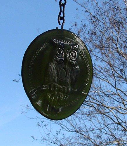 Owl Farm Screech - Avocado Green Owl Handmade Recycled Wine Bottle Bottom Sun Catcher