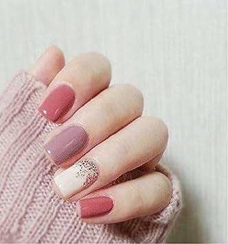 Amazon.com: Juego de 24 uñas falsas de color rosa y morado ...