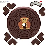 Baby Proofing Edge & Corner Guards Set - EXTRA LONG 19+ ft Coverage 3M full tape Incl 8 3M Pre-Taped Corners [ Brown ] Baby corner guards| | Table Sharp Edges Protector | Furniture Edge Corner Bumper.
