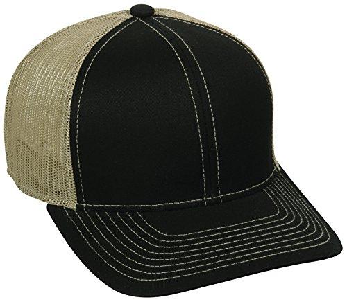 Outdoor Cap Structured Mesh Back Trucker Cap, Black/Tan, One ()