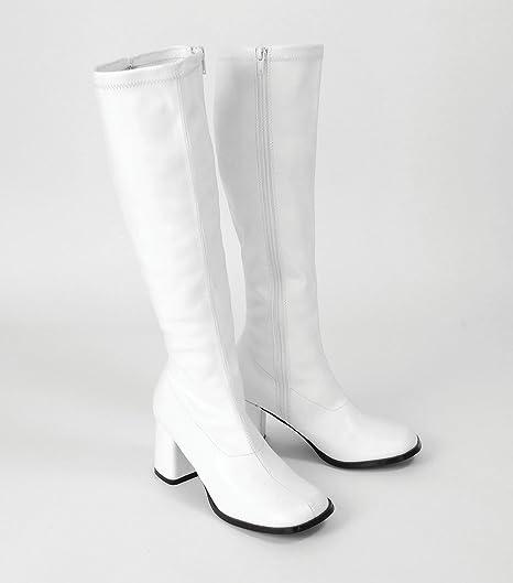 White Platform 60s 70s GoGo Boots Sz 7