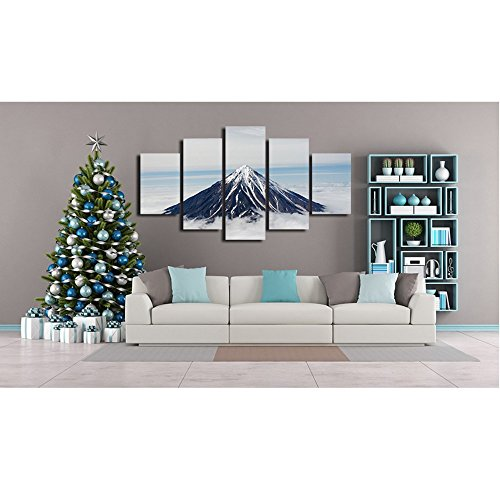 [LARGE] Premium Quality Canvas Printed Wall Art Poster 5 Pieces / 5 Pannel Wall Decor snow capped mountain Abstract Painting, Home Decor For Living Room Pictures - With Wooden Frame by PEACOCK JEWELS
