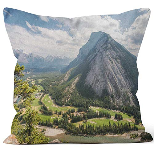 Nine City Banff Fairmont Springs Hotel Golf Course Home Decorative Throw Pillow Cover,HD Printing Square Pillow -