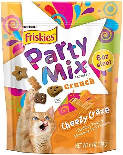 Friskies Party Mix Cat Treats, Cheezy Craze Crunch, Cheddar, Swiss Monterey Jack Flavors, 6-Ounce Pouch, Pack of 1