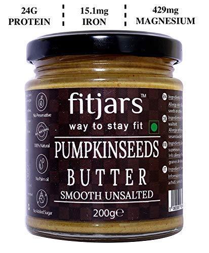 FITJARS Pumpkin Seeds Butter Smooth, Unsalted (Pumpkin Seeds), All Natural Stone Ground Keto Diet Vegan Butters -200 ge