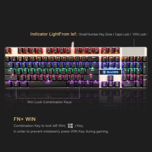 SADES K10 mecánico Gaming teclado 104 teclas 19 conflicto no llaves USB con cable retroiluminado Metal Panel LED con interruptores azul-(negro/oro): ...