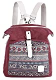 ArcEnCiel Women Girl Backpack Purse Canvas Rucksack Shoulder Bag (Maroon)