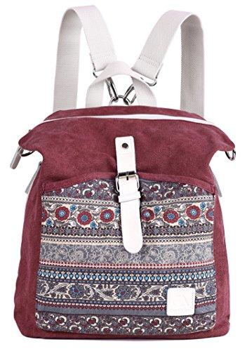 (ArcEnCiel Women Girl Backpack Canvas Rucksack Shoulder Bag (Maroon))