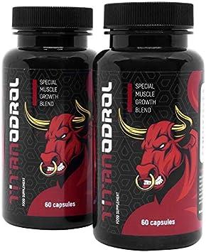 TITANODROL Premium, 2 paquetes, aumenta los niveles de testosterona y hormona de crecimiento, rápido crecimiento muscular, rápida quema de grasa, sin ...