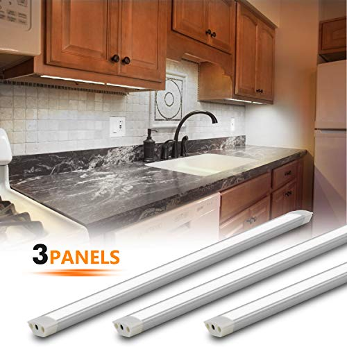 Under Cabinet Lighting Kit, 3pcs 12 Inches Under Counter Lights, 10W 630 Lumens Dimmable LED Kitchen Cabinet Strip Lights, Daylight 6000K
