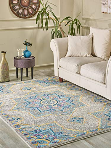 (Golden Rugs Taditional Area Rug 8x10 Oriental Medallion Grey Hand Touch Vintage Distressed Abstract Texture for Bedroom Living/Dining Room 7466 Melody Collection (8x10, Grey))
