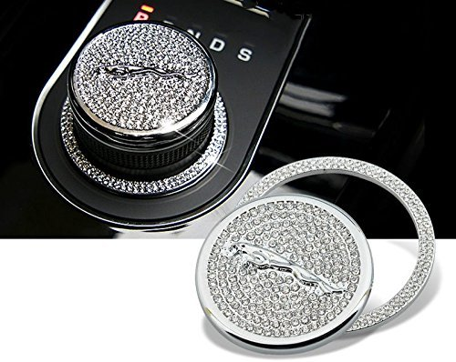 MAX WHOLESALE Genuine Bling Crystal Gear Shift Knob Golden Badge Cover XF F-Pace Emblem Ring For Jaguar (Chrome Silver) by Bioplus