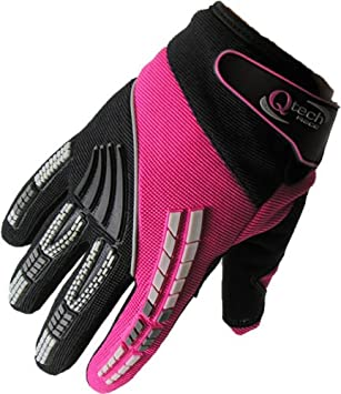 GREEN XXXS Qtech CHILDRENS Motorcycle Motorbike Riding MX GLOVES for Kids Trials Motocross Cycling with Short Cuff Protected