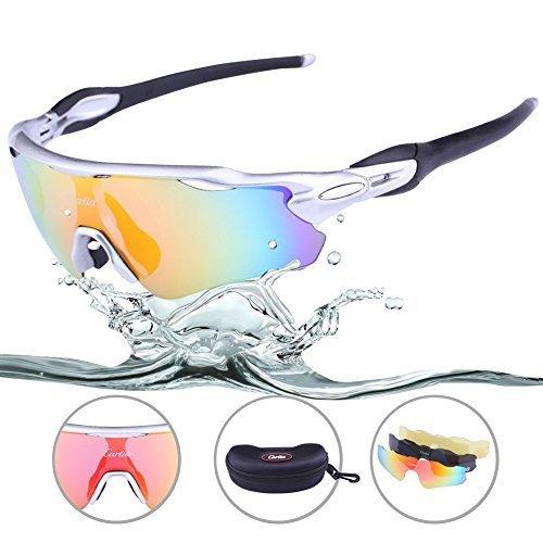 ce7c1e70d6e Sports Sunglasses - Carfia Mens Womens Cycling Sunglasses UV400 Protection Polarized  Sunglasses with 3 Interchangeable Lenses for Fishing Baseball Cycling ...