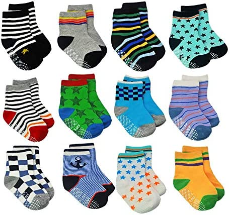 12 Pairs Toddler Non Skid Socks with