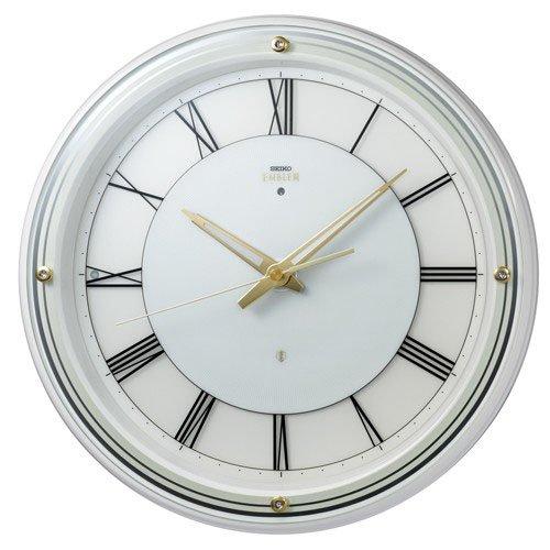 (セイコークロック) SEIKO CLOCK EMBLEM エンブレム 電波 壁掛け時計 HS550W 光センサーライト 白 ホワイト 高級ライン アナログ B015MKV3TE