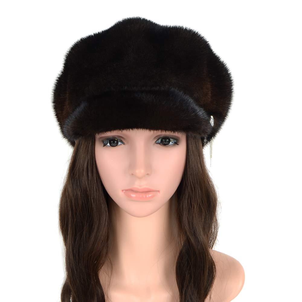 MH Bailment Ladies 100% Natural with Diamond Mink Hat Women Winter Fur Hats Mink Fur for Women (One Size, Dark Brown)