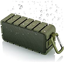 AKIXNO IPX6 Waterproof Wireless Portable Bluetooth Speaker 10W with Stereo Dual-Driver, Built-in Mic, Hands-free Speakerphone for Camping, Party, Kayaking, BBQ & Beach