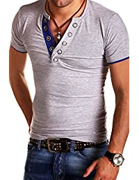 Mens V-Neck T-Shirt Buttons short sleeve Polo BS-524