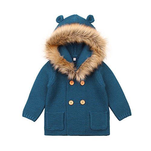 MiMiXiong Baby Kids Boys Long Sleeve Knit Cardigan Cartoon Hoodies Sweater Coats (6-12M, Cowboy (Cowboy Kids Sweatshirt)