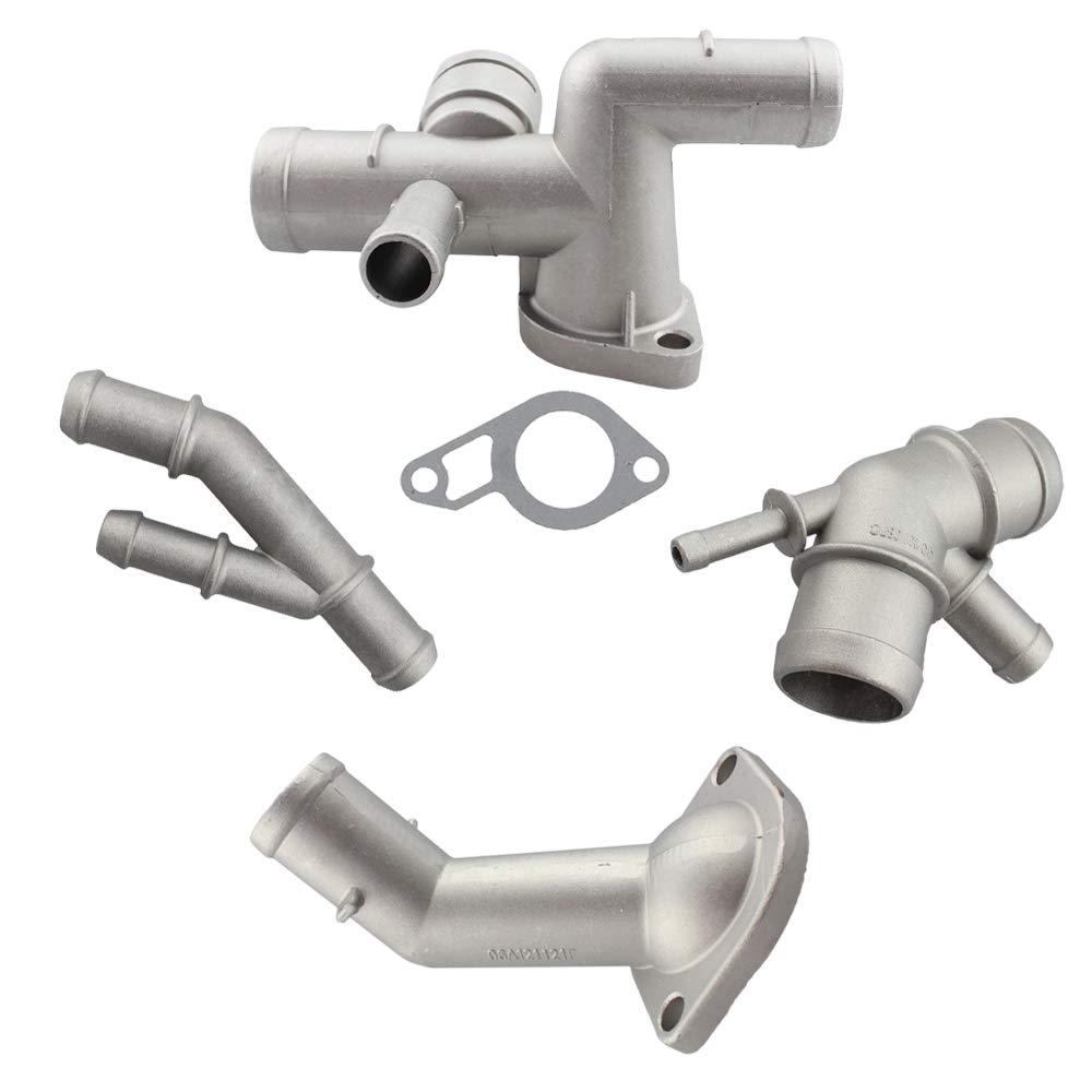 4 pcs/set Aluminium Engine Cooling Coolant Flange Upgrade Hose Connector Pipe for VW Audi 1.8T 1J0121087E 1J0121087C 06A121121C 06A121133J Banwinoto