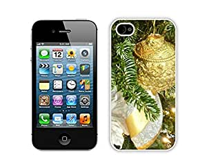 2014 Newest Silver and Gold Christmas Tree White iPhone 4 4S Case 1