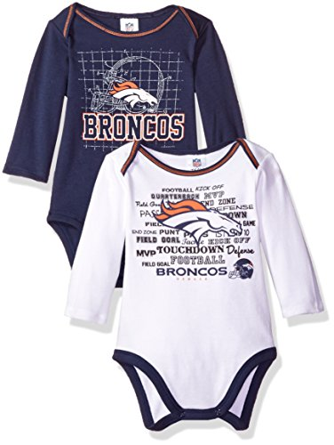 NFL Denver Broncos Long Sleeve Bodysuit (2 Pack), 3-6 Months, Blue
