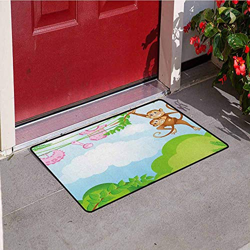 GloriaJohnson Nursery Front Door mat Carpet Monkey Swinging with The Kid Baby Clothes Chimpanzee Jungle Joy Togetherness Machine Washable Door mat W31.5 x L47.2 Inch Green Brown Pink