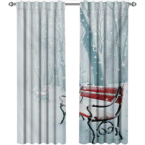 shenglv Forest, Curtains Pattern, Row of Iced Red Benches in A Parks Pathway Misty Crystalline in The Weather Forest Photo, Curtains for Girls Bedroom, W108 x L96 Inch, White
