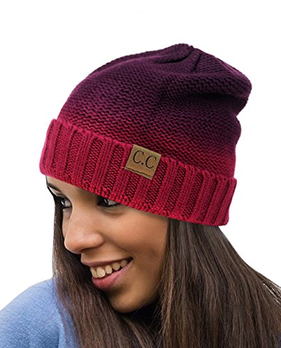 (NYfashion101 Exclusive Two Tone Cuff & Slouch Winter Warm Beanie Hat - 2 Tone Burgundy)