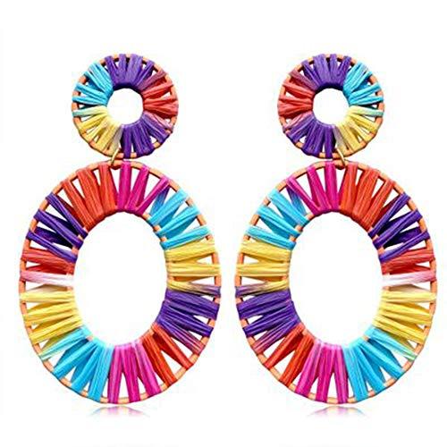 - HandWoven Oval Lafitia Straw Earrings Segment Dyed Colored Ear Studs Hoop Dangle Earrings for Woman Girls Ornaments