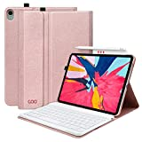iPad Pro 11 Keyboard Case - Textured Hard Case with Detachable Wireless Keyboard for 11 Inch iPad Pro 2018 (Support Apple Pencil 2 Charging) - with Pencil Holder - Champagne