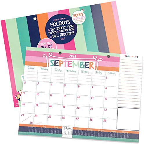 2018-2019 Monthly Desk Pad or Wall Calendar, Dated This Month - December 2019, 12