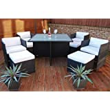 Chelsea London Rattan Garden Furniture 9 Piece Cube Set with Free Cover Worth £32.99