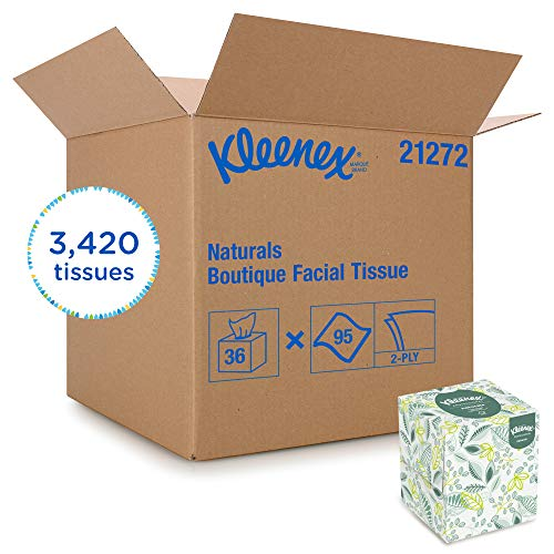 Kleenex 21272 Naturals Facial Tissue, 2-Ply, White, 95 per Box (Case of 36 Boxes)