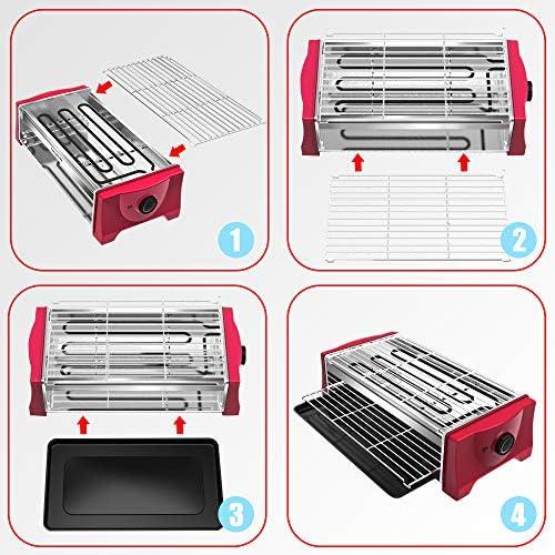 Barbecue Electrique de Table - Électrique Grille Barbecue D'interieur 2000W avec Bac Collecteur d'eau Barbecue Electrique sur Pied Sans Fumée pour Jardin, Balcon, Voyage