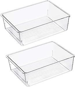 Slideep Kitchen Freezer Food Storage Bin, Plastic Refrigerator Organizer Fridge Storage Containers for Fruit, Yogurt, Snacks, Pasta 11'' 2 Pack