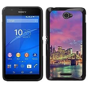// PHONE CASE GIFT // Duro Estuche protector PC Cáscara Plástico Carcasa Funda Hard Protective Case for Sony Xperia E4 / city skyline lights river bridge architecture /
